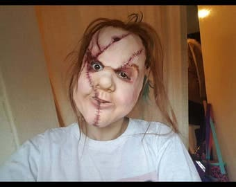 Scary doll latex mask lookalike chuckie