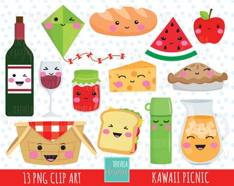 50% SALE kawaii PICNIC clipart, picnic party clipart, commercial use, cute graphics, drinks clipart, food/fruits clipart, kawaii clipart