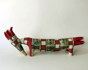 creature - ceramic red creature - red and white - ceramic sculpture - sculpture - animals - ceramic animals - fantasy creature