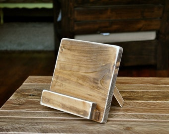 Distressed Wood iPad or Cookbook Stand for the Kitchen or Office - 3 SIZES - Tablet or eReader Stand