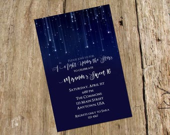 Night Under the Stars Invitation/Announcement, Baby Shower, Digital Printable File, color options available