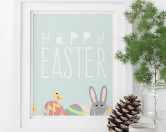 Happy Easter Print / Printable Easter Decor / Easter Wall Art Print / Easter Table Decorations / Mint Green Rabbit Easter Eggs Print DIY