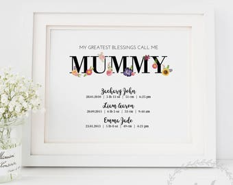 Birth Stats Keepsake Print for Mum / Mothers Day Gift / Greatest Blessings Grandparent Gift Nanna Nan / Birth Dates Floral Typography Print