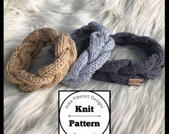 Knit Pattern // Braided Cable Knit Headband // Toddler - Adult  // Beautiful Soul Head Wrap