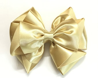 Gold Satin Hair Bow for Baby, Flower Girls, Bridesmaid, Wedding, Special Occasion, Baptism, Baby Hair Bow, Baby Hair Clip, 4inch Hair Bow