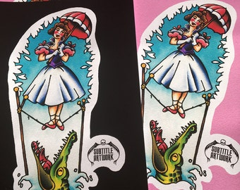 Haunted Mansion, Umbrella Girl inspired tattoo flash, A4 giclee print, disneyland, disney tribute, stretching room, retro, vintage, horror