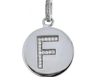925 Sterling Silver Round Initial Pendant (3 grams)