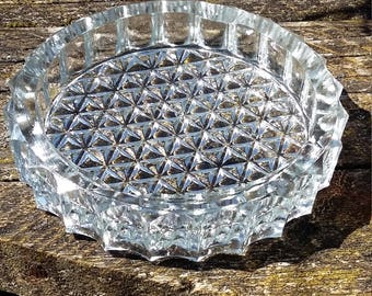 clear glass ashtray round shape mid century style vintage glass thick heavy
