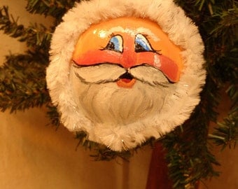 Hand painted Santa face on a buffalo gourd by Debbie Easley 32