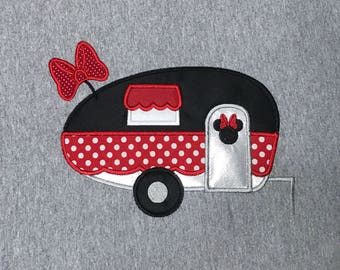 MINNIE CAMPER Inspired By Minnie Embroidered and Appliqued T-Shirt for Children and Adults