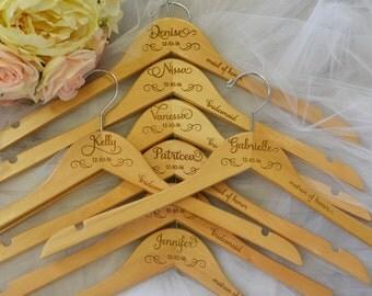 8 Wedding Hanger, Wedding Dress Hanger, Name Hanger, Bride Hanger, Bridesmaid Hanger, Personalized Hanger, Bridal Gift, Mrs Hanger
