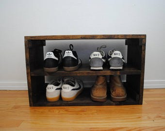 Rustic Shoe Organizer, Rack Crate, Shoe Rack, Shoe Storage, Shoe Shelf  24x11X13
