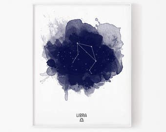 libra zodiac, september zodiac, october zodiac, libra print, star sign, libra watercolor, constellation, astrology, astronomy, star map