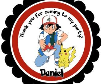 Printable Pokemon Thank You Tags, Pokemon, Pokemon Favor Tags, Pokemon Gift Tags, Pokemon Party, Pokemon Birthday, Pokemon Ball