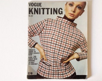 Vintage Vogue Knitting magazine, stylish 1960s knitting patterns, number 67 from 1965