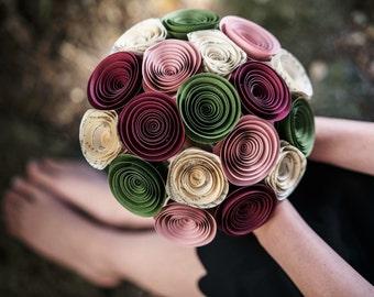 Bridal Bouquet - Paper Flower Bouquet - Wedding Bouquet - Bridesmaid Flowers - Wedding Bouquet Alternative - Bridal Flowers - Moss Green