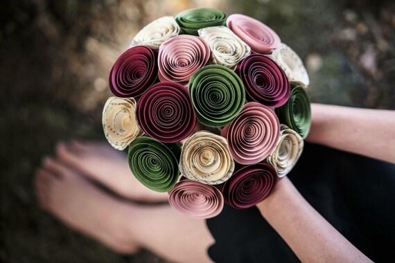 Bridal Bouquet - Paper Flower Bouquet - Wedding Bouquet - Bridesmaid ...