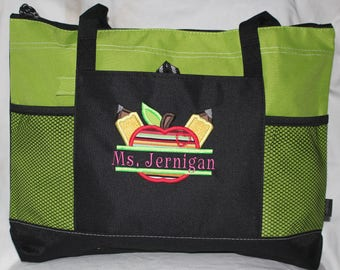 Best Teacher Appreciation Gift! Embroidered Personalized Teacher Tote Bag; Teacher Appreciation Week; Applique SchoolTeacher Gift