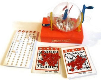 Vintage Activitoys Barrel Bingo Game, COMPLETE - #2505, 1970s, ages 7 & up - small, made in Hong Kong, fun family game night, red, cage