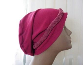 Hair Loss Turban,Chemo Hat,Plum Turban,Plum slouch hat,Plum ladies hat, Slouch Hat, Fashion Hat, Stretchy Slouch Hat, Multi Colored Hat