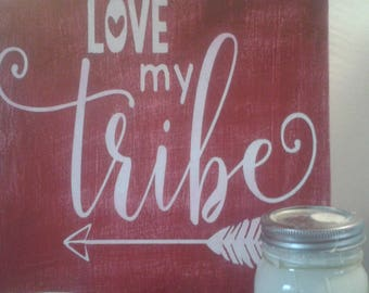Love my tribe sign, chalk painted sign, family sign, farmhouse sign, farmhouse decor, rustic sign, shabby sign, country decor, farm style