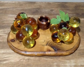 Mid Century Amber Lucite Grapes Table Decor with Candle Holder / Vintage Resin Grapes on Wood Platform