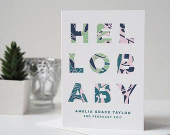 Hello Baby New Baby Card - Personalised New Baby Card - Baby Details Card - New Baby Keepsake Card