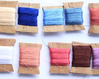 Set of 6 spools of polyester Tatting thread - shuttle tatting or needle tatting - size 30 Vega and Tenax brand - yarns tatting lace