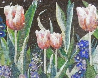 Tulip Flower Field Mosaic Mural
