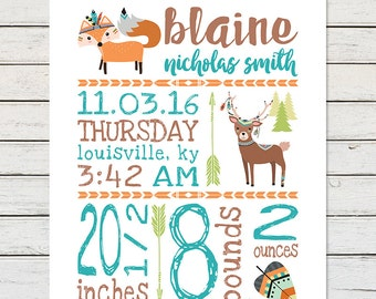 NURSERY PRINTABLE, Digital Printable, Birth Stats, Woodlands Nursery, Print at Home, Fox Nursery, Deer Nursery, Rustic Nursery