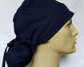 Navy BLUE PONYTAIL Surgical Scrub hat Theatre cap anatomy