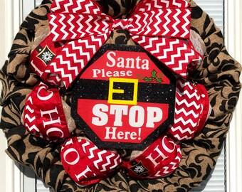 Ho Ho Ho Burlap Wreath - Christmas burlap Wreath - Demask Wreath , Santa Wreath,  Winter Burlap Wreath, Welcome Wreath, Wreath