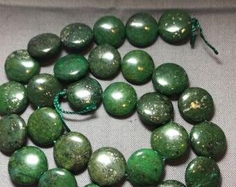 Jasper copper coin beads,natural green japser beads,jasper gemstone beads