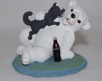 Coca Cola Polar Bear Cubs Puppy Love Resin Collectible Figurine 1996