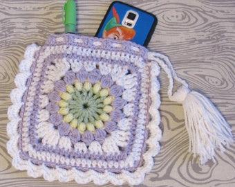 Crochet Sunflower, Purple Handbag, Cell Phone Pouch, Lipstick Bag, Boho Drawstring Bag, Granny Square Bag, Wristlet, Gift Card Holder