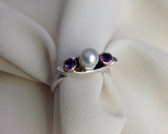 Sterling ring with pearl and amethyst