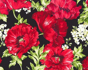 Timeless Treasures Audrey Poppies & White Floral Fabric