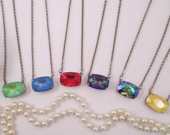 Swarovski crystals/Pendant necklace/Rectangular crystal necklaces/27 x 18 crystal necklace/Large crystal necklace