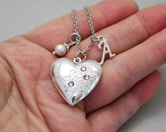 June Light Amethyst Silver Heart Locket, June Birthstone, Personalized Initial Birthstone Necklace, Silver Locket Necklace