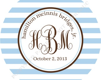 Personalized melamine plate- Personalized plate- with Stripes and Monogram and Name
