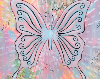 Butterfly - 8x8 Print -  Dreamy pink butterfly whimsy colorful