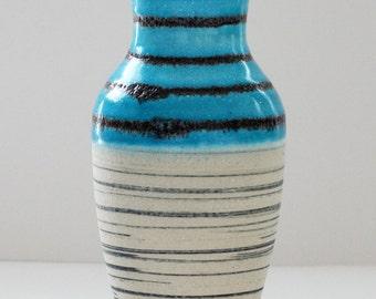Dümler & Breiden Mid Century Turquoise and White Black Striped West German Vase