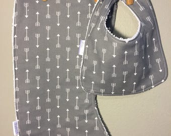 Arrow Baby Bib, Burp Cloth Set