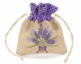 Lavender Jute Bags Gift Pouch Party Favor 6 pcs