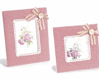 Picture Frame Red Gingham Padded Fabric Set of 2