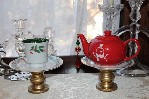 Pair of christmas teacup teapot centerpieces party