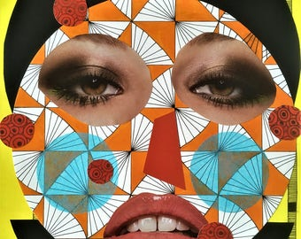 Collage Artwork Abstract Portrait of Modernart and Contemporary Art Illustration with Mixed Media Popart