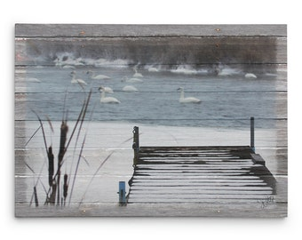Dock on Frozen Lake Canvas Print, Swan Lake Dock Photo, Lodge and Cabin Decor, Gallery Wrap Canvas