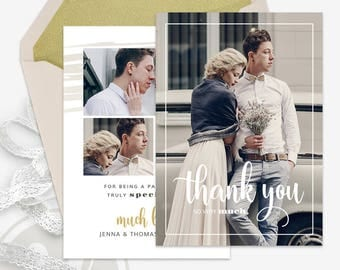 Wedding Thank You Card Template - Wedding Thank You Template, Instant Download, Photoshop Template for Photographers, Photo Thank You Card