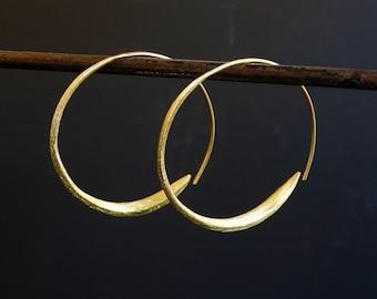 Hoop Earrings, Gold Hoops, Wrap Over Hoop Earrings, Gold Vermeil Hoop Earrings